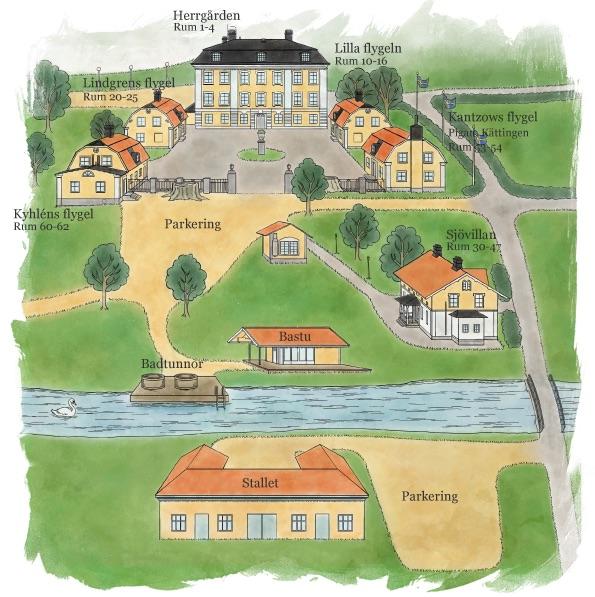 Karta över Schenströmska herrgården och området runt omkring.