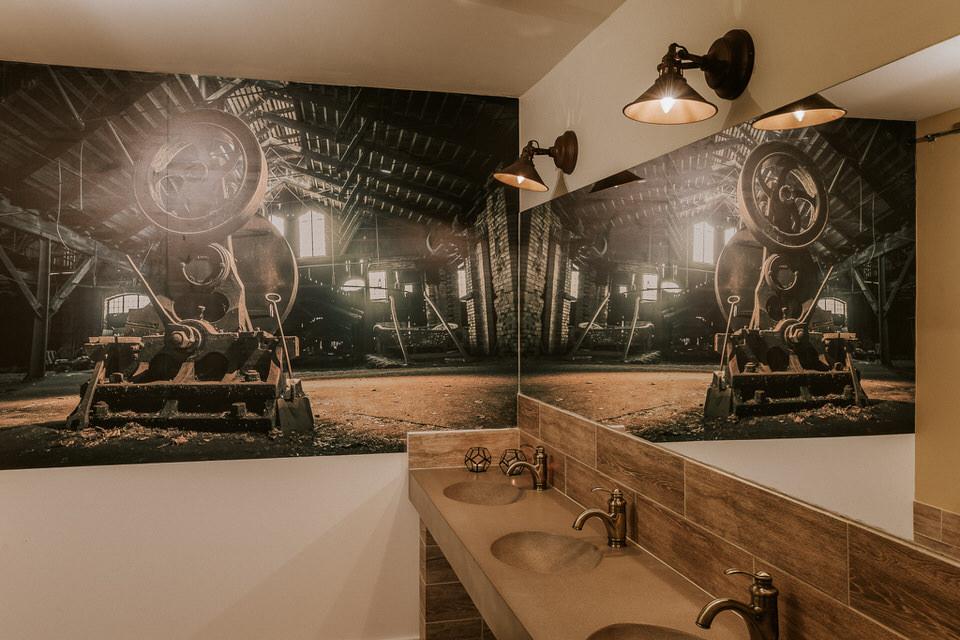 Detaljer och inredning på allmänna toaletterna i eventlokalen Stallet på Schenströmska Herrgården